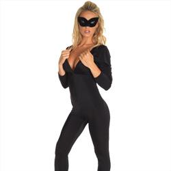 Abito Catsuit Nero e Maschera occhi