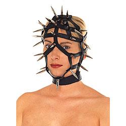 Maschera Viso in Pelle con Cinghie Aperte e Punte